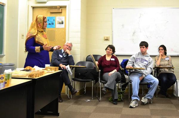 Chaplains Tahera Ahmad and Tim Stevens lead a discussion group at the McSA-Hillel Chai Chat. Illinois state law now requires non-religious universities to reschedule exams for religious reasons but NU already has policies in place that will uphold this law.