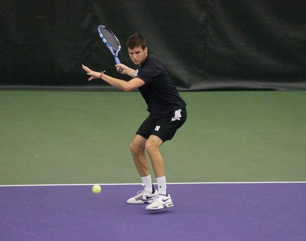 Senior Chris Jackman looks to make a return shot during Saturday's double header against Ball State and Western Michigan. Jackman posted victories at No. 3 doubles with sophomore Alex Pasareanu and at No. 5 singles during the first matchup against Ball State.