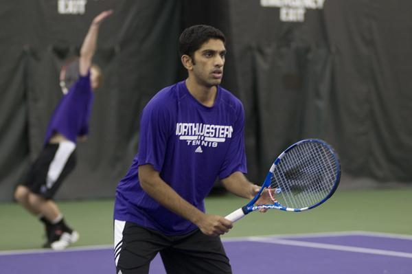 Senior Sidarth Balaji waits to return a serve. Balaji and the Wildcats will see their first action of 2013 on Sunday in a doubleheader.