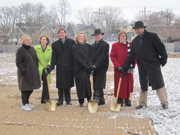 Ald. Melissa Wynne (3rd) (center) breaks ground at the site of a new Trader Joe's, 1211 Chicago Ave., with fellow aldermen, Mayor Elizabeth Tisdahl and representatives from developer Terraco, Inc. Developers said the store is scheduled to open in October.