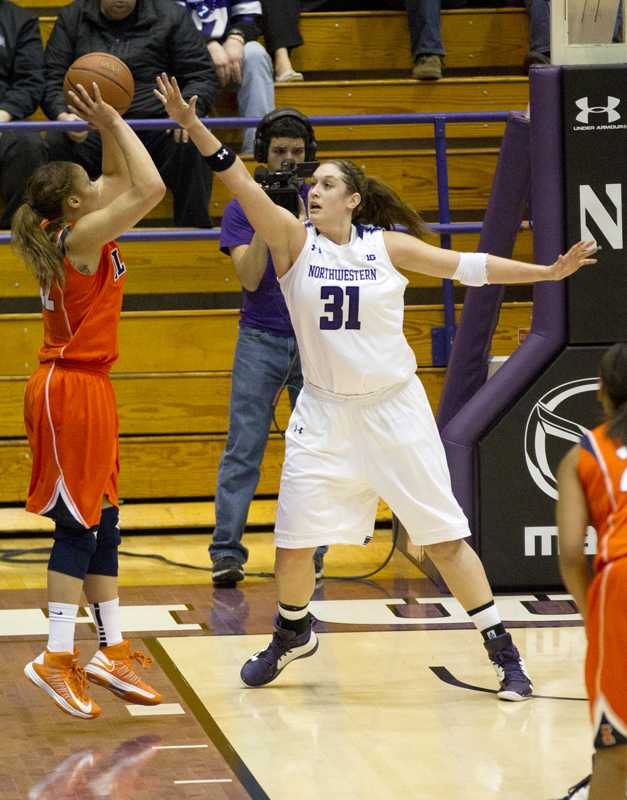 Senior+forward+Danielle+Diamant+attempt+to+block+a+shot.+The+Wildcats+look+to+defend+home+court+against+the+Spartans.+