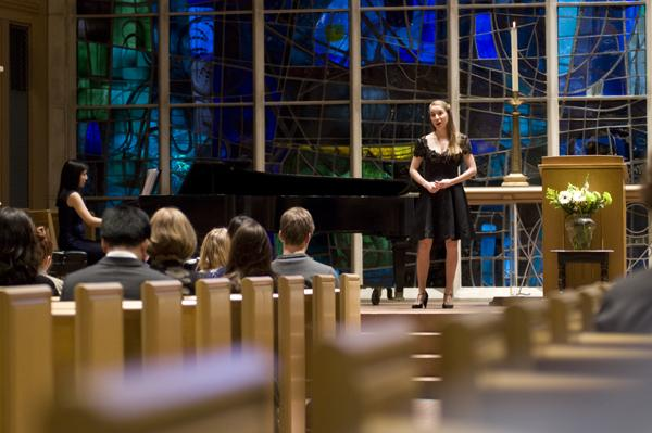 Harrah Friedlander (soprano) and Janice Li (pianist) performed at the memorial service Wednesda for Prof. Joan Zielinski, hosted by The Harvey Kapnick Business Institutions Program. Zielinski, who taught for BIP and the sociology department, died from a heart attack in December.