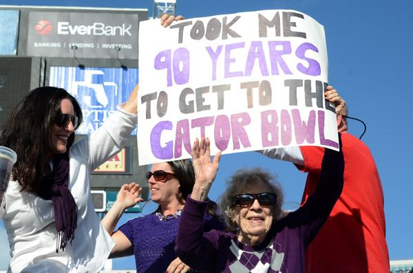 One of Northwestern's older fans got a chance to watch the Wildcats win their first bowl game since the 1949 Rose Bowl.