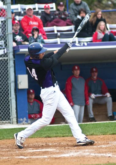 Redshirt senior Zach Morton bats during a home game. Morton started at pitcher for the Wildcats this past weekend.