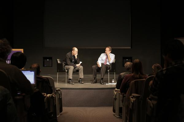 StoryCorps founder David Isay (right) and Prof. Alex Kotlowitz discussed the art of storytelling for an audience of over 100 in the McCormick Tribune forum Tuesday evening. StoryCorps is a nonprofit radio project that broadcasts on National Public Radios Morning Edition.