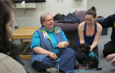Mary Beth Napier, a volunteer for Rainbow Animal Assistance Therapy, community provider for CAPS and practicing psychologist, with her dog Rainbow.