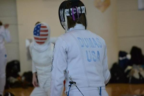 Sophomore Courtney Dumas competes during a dual. Dumas finished 15th in last years NCAA Championships in the epee competition.