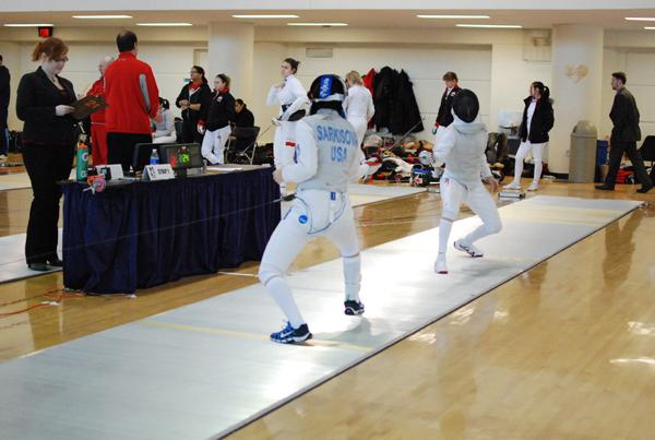 Senior foilist Dayana Sarkisova competes during the NU Duals. The Wildcats will participate in the USA Fencing Junior Championships this weekend.