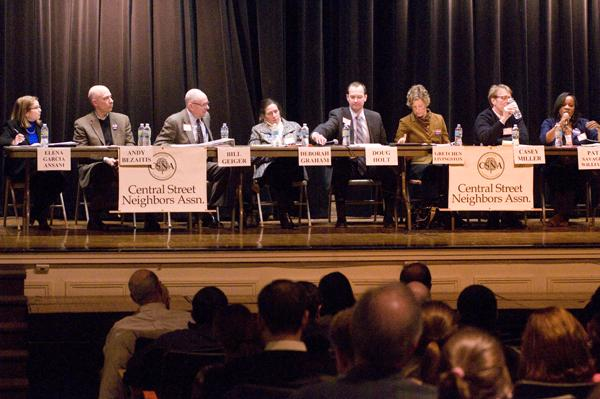 Evanston Township High School District 202's eight board candidates answer to concerns about racial inclusion, safety, administrative expenses and curriculum at a public forum held Wednesday night. Voters will choose four to sit on the school board on election day, April 9.