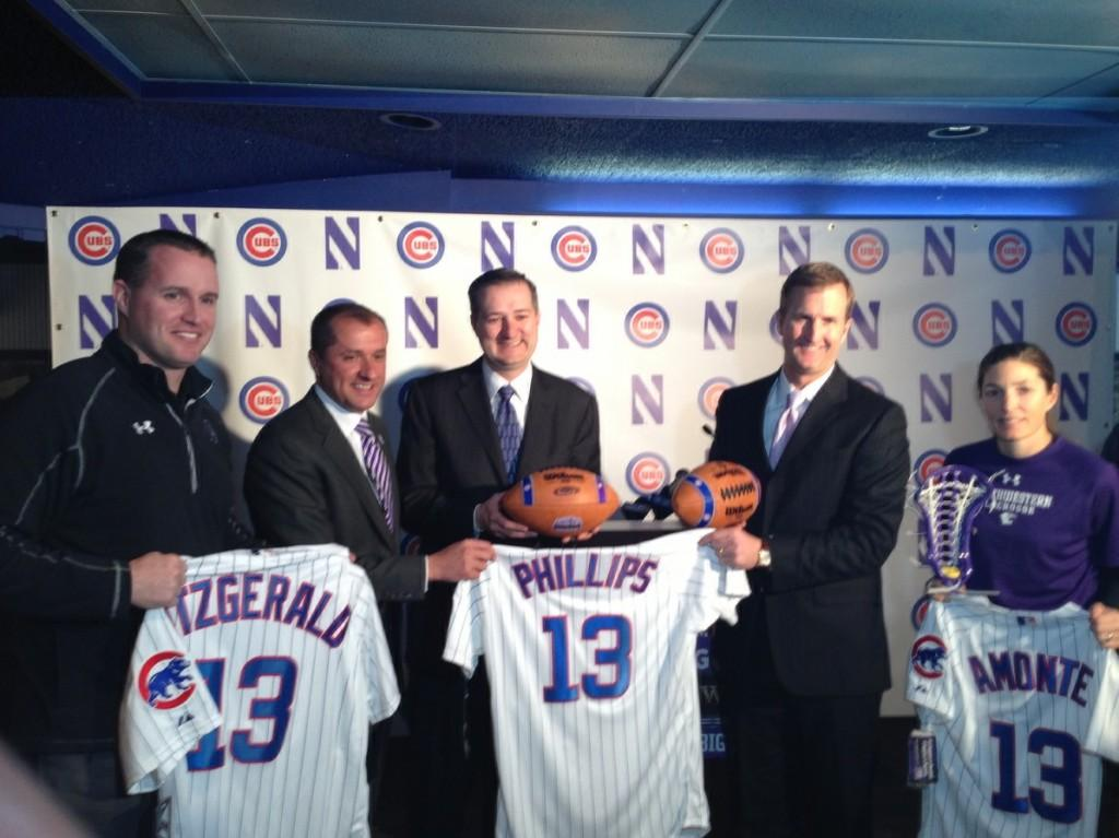 From left: Northwestern football head coach Pat Fitzgerald, NU Athletic Director Jim Phillips, Chicago Cubs owner Tom Ricketts, Cubs President of Business Operations Crane Kenney and NU lacrosse head coach Kelly Amonte Hiller. NU and the Cubs announced a five-year partnership Tuesday that will open up Wrigley Field for select games for NU's 19 varsity teams.