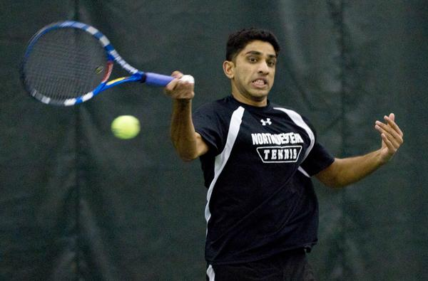Senior Sidarth Balaji plays a forehand shot during a home match. The Wildcats won their final two duals before the start of conference play.