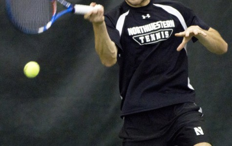 Senior Chris Jackman plays a shot. The Wildcats won both their matches over the weekend.