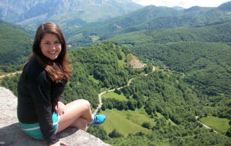 Catherine Althaus poses in the mountains of Asturias, Spain, last summer. The Weinberg junior will travel to eight countries on four different continents this summer to study museums' treatment of human remains as the winner of the Circumnavigator Travel-Study Award.
