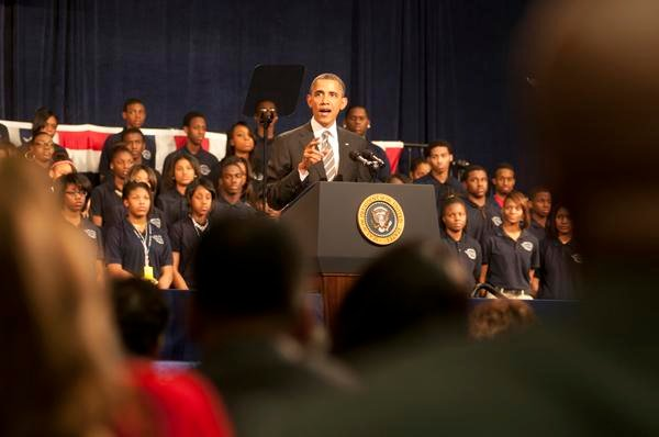President Barack Obama speaks Friday at Chicago's Hyde Park Academy. Obama stressed the importance of strong families as a component of reducing gun violence in America.