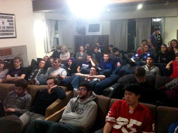 Students gathered at Phi Mu Alpha on Sunday for the music fraternity's Super Bowl watch party. Proceeds from the event went toward funding Communication sophomore Josie Nordman's double lung transplant.