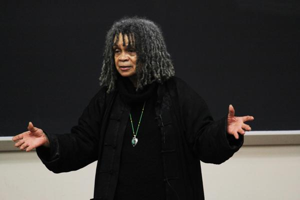 Poet and activist Sonia Sanchez spoke Thursday in Fisk Hall as part of Black History month programming. The African American Studies department and Northwestern University Black Alumni association sponsored the talk.