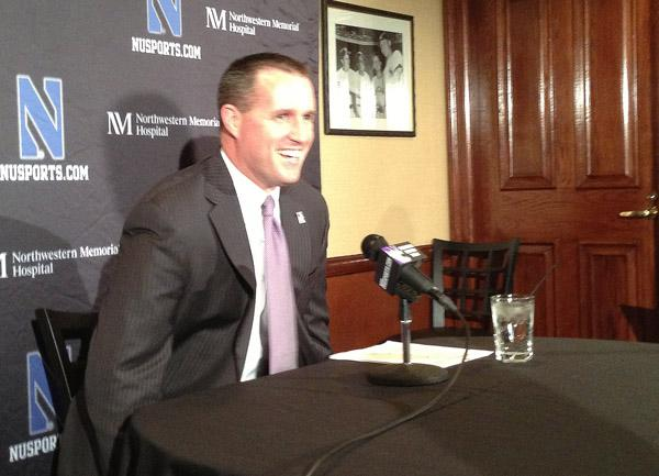 Football coach pat Fitzgerald sits down for his signing day press conference. The coach spoke about new recruits and the recruiting process.