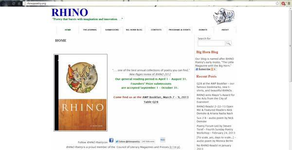 Evanston-based poetry journal RHINO recently received the 2012 Mayor's award for the arts.