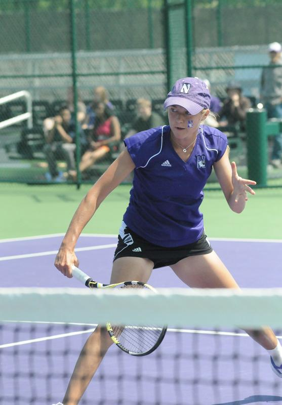 Junior Veronica Corning competes during a match in Evanston last season. The Wildcats lost two on the road in in the first weekend of February.