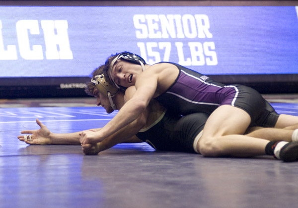Redshirt senior Jason Welch competes during a recent home dual. Welch and the Wildcats' other seniors will wrestle at Welsh-Ryan Arena for the last time Sunday.