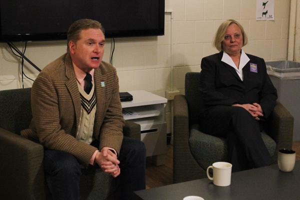 Edward Tivador (left) and Ald. Judy Fiske (1st) sparred over key issues in the upcoming 1st Ward election at the Public Affairs Residential College on Wednesday night.