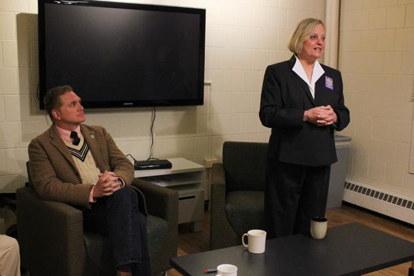 Ald. Judy Fiske (1st) speaks at last week's candidate forum at the Public Affairs Residential College as challenger Edward Tivador looks on. Fiske picked up an endorsement this morning from Evanston Mayor Elizabeth Tisdahl.
