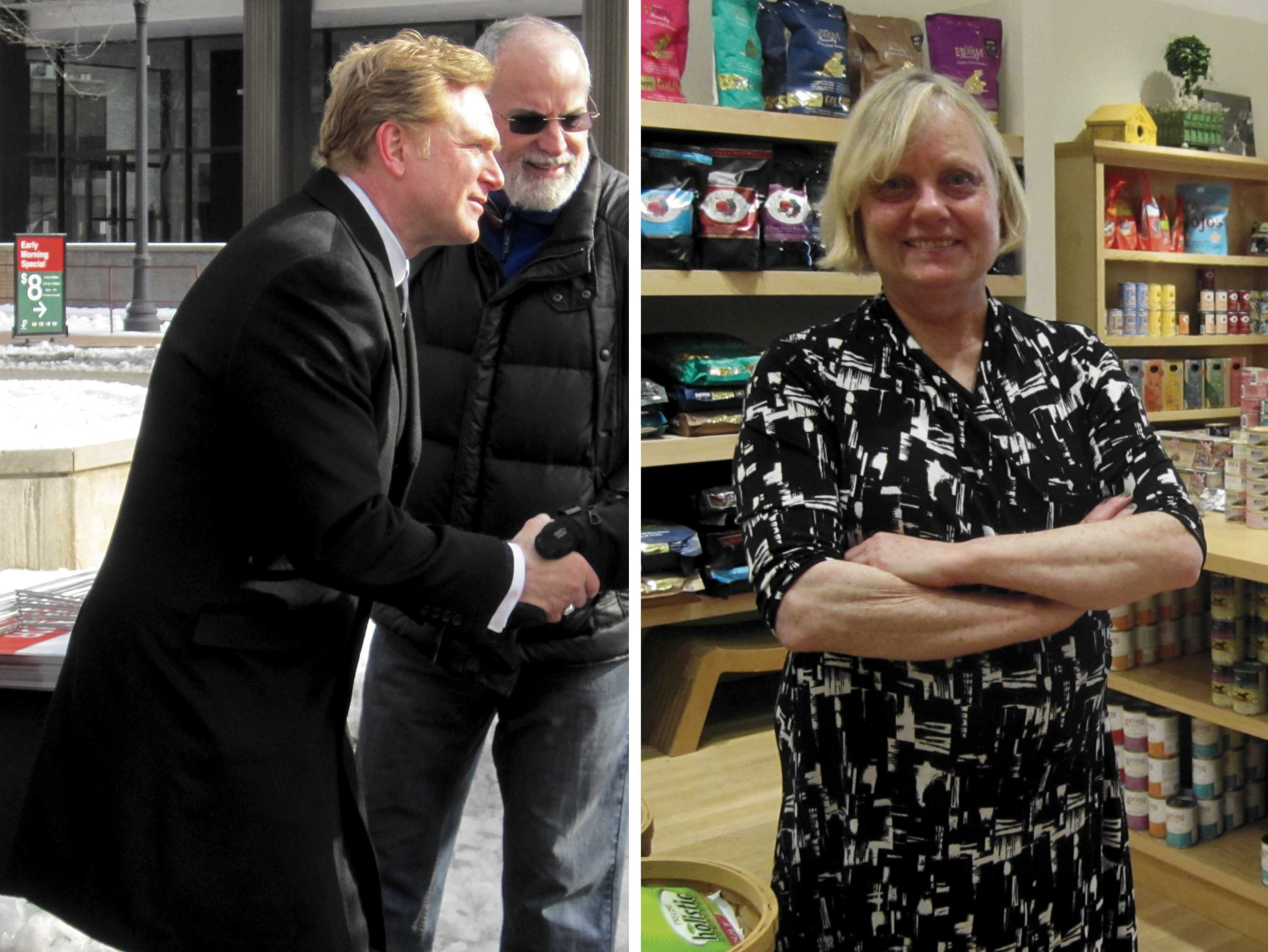 School superintendent Edward Tivador (left) and Ald. Judy Fiske (1st) will face off tonight in two on-campus forums focusing on their upcoming election. Tivador is challenging Fiske in the race for 1st Ward alderman.