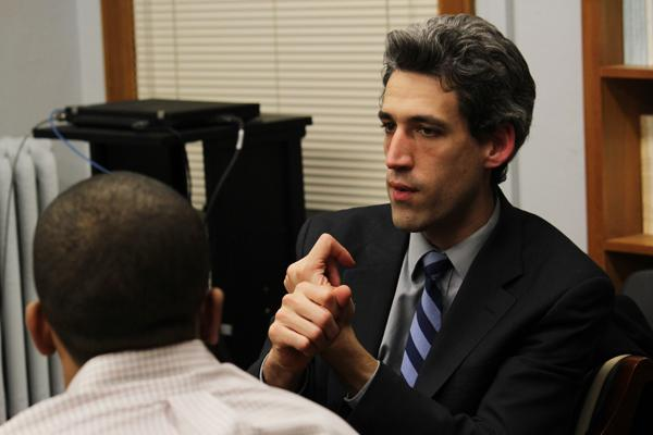 State Sen. Daniel Biss (D-Evanston) speaks earlier this month at Northwestern's Political Union. Biss has proposed a bill to reform Illinois' pension system that may see a vote on Tuesday.