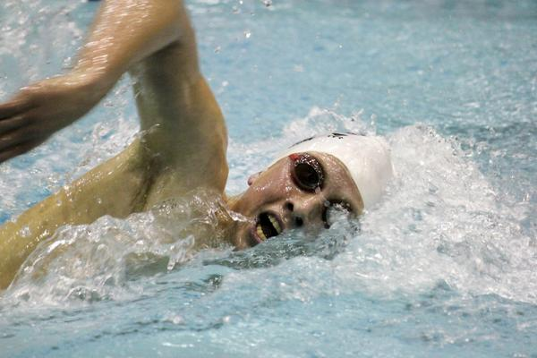 Freshman Jordan Wilimovsky competes during the freestyle at home. Wilimovsky broke the Northwestern record in the 1,650 freestyle at the Big Ten Championships.