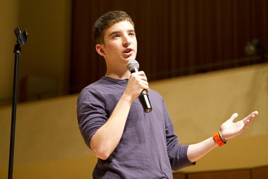 Communication sophomore Charlie Gingold was the first of three student openers for B.J. Novak.