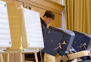 A student votes in November's elections. Early voting for Evanston's local races begins today and runs through April 6.