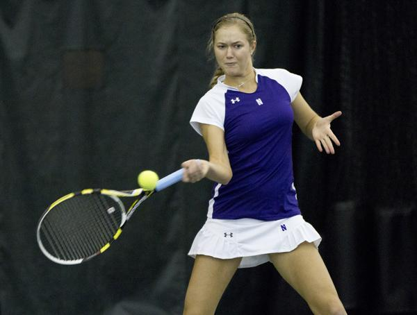 Junior Veronica Corning competes during a home match. The Wildcats defeated in-state rival Illinois over the weekend.