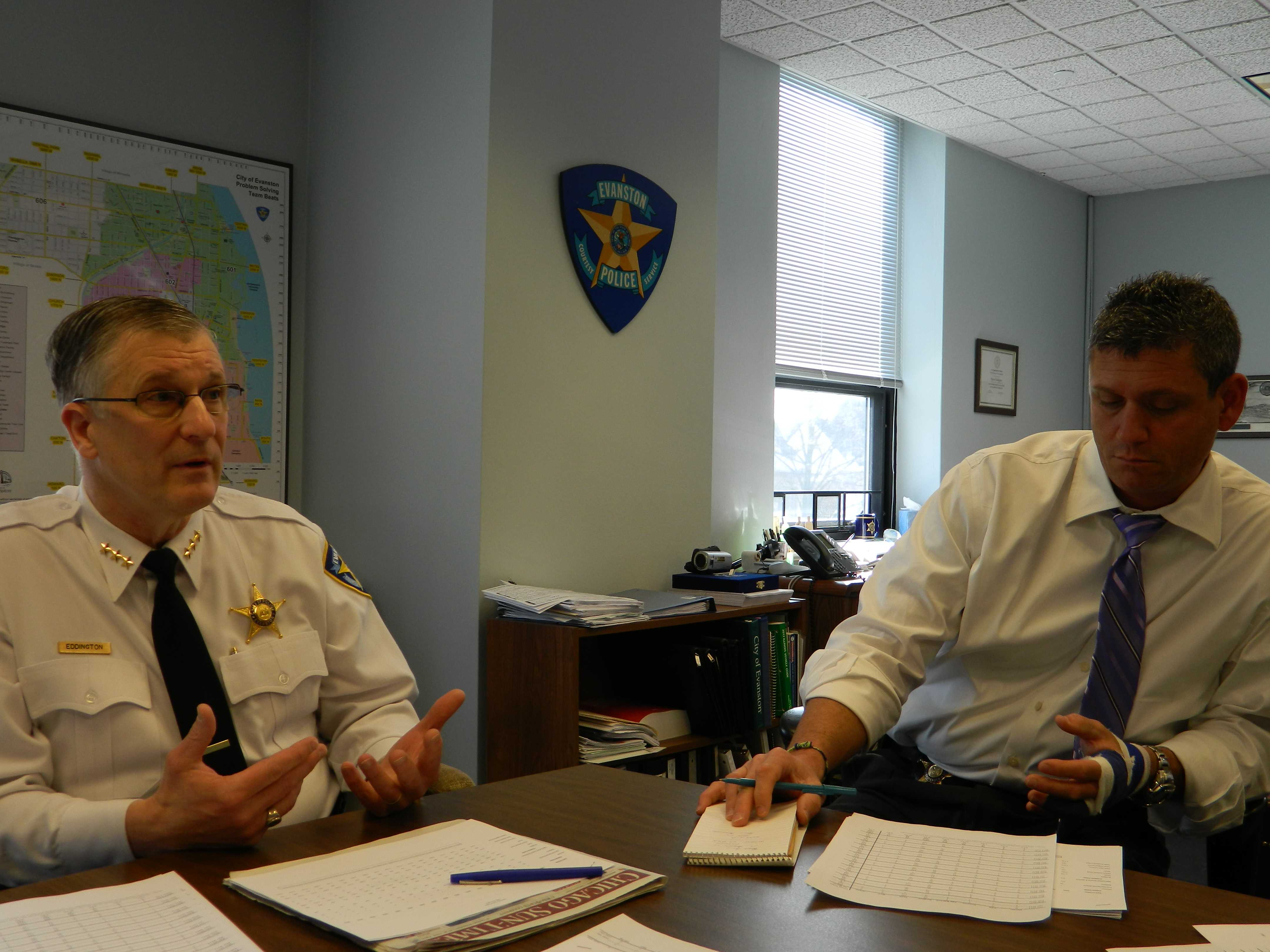 Evanston Police Chief Richard Eddington (left) and Cmdr. Jay Parrott shared Evanston crime data for 2012 on Friday.