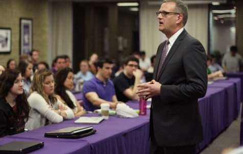 New Dean of Students Todd Adams speaks to ASG senators about plans for first full quarter