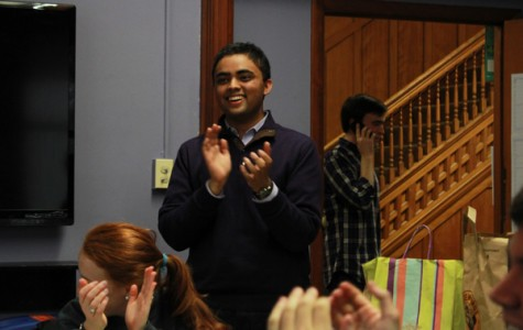 Ani Ajith celebrates with supporters at the Black House after learning he won Friday's election to become Associated Student Government's next president. Ajith and running mate Alex Van Atta defeated three other tickets.