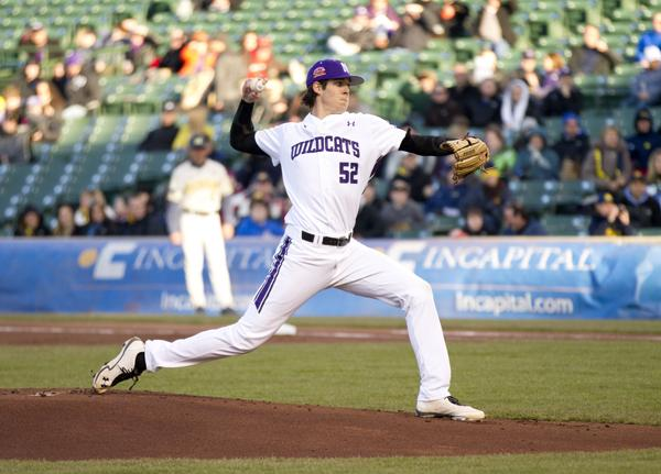 Northwestern pitcher Luke Farrell threw the Wildcats' first complete game this season in the team's 6-0 win over Michigan on Saturday. The senior struck out 9 batters and gave up 3 hits for his second win of the year.