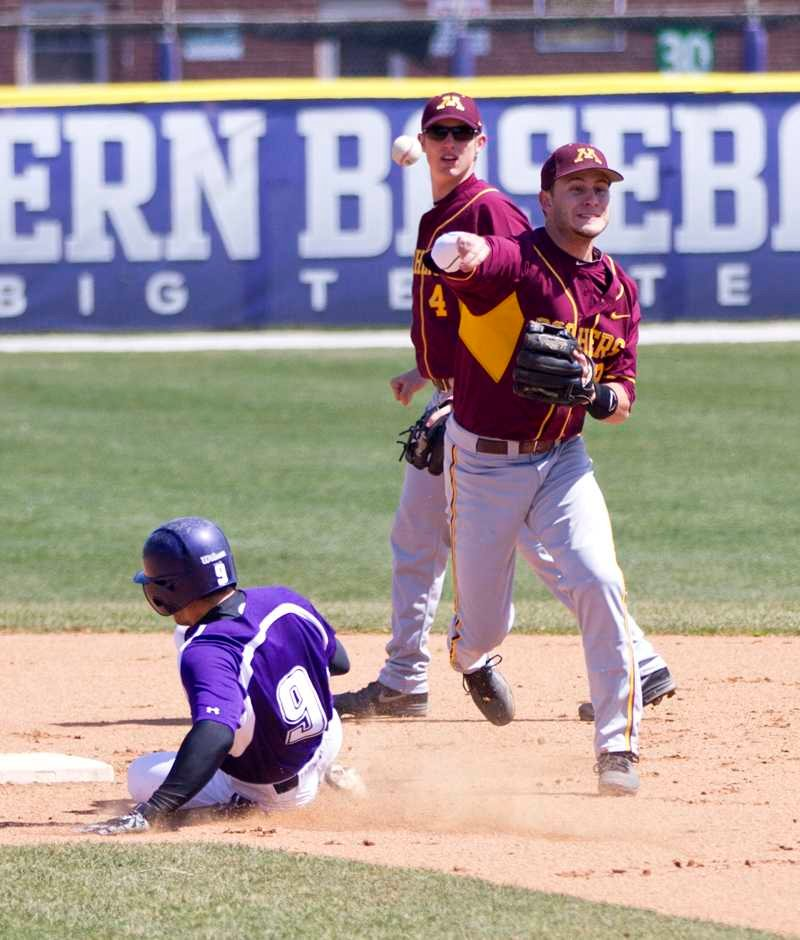 Junior Kyle Ruchim slides into second base. The second baseman is a key player in Northwestern's offense, and leads the Wildcats in batting average, hits, home runs, doubles, triples, total bases, slugging percentage and on-base percentage.