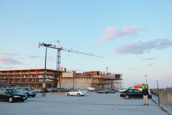 The construction of the new music building is one of many projects taking place on campus. Other developments include the new visitors center and the University Library renovations.
