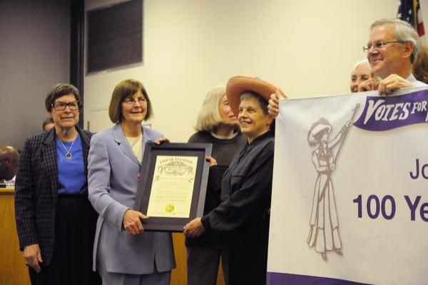 Evanston Mayor Elizabeth Tisdahl and city officials on Monday recognized the 100th anniversary of women's suffrage in Illinois.