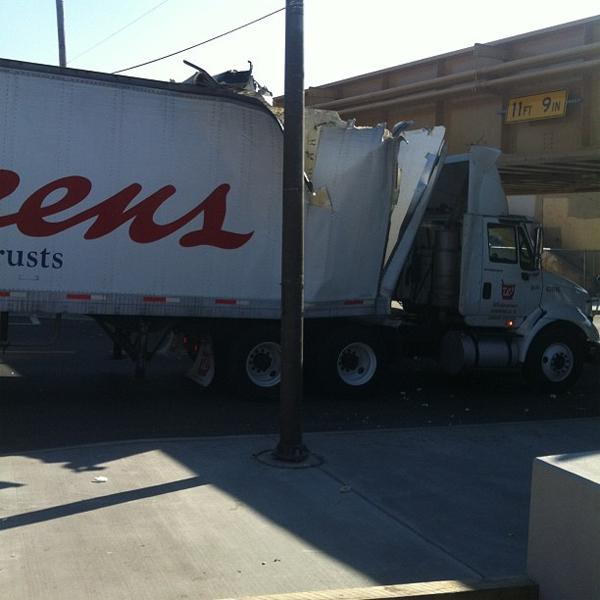 A Walgreens truck was damaged this afternoon after crashing into a CTA viaduct.
