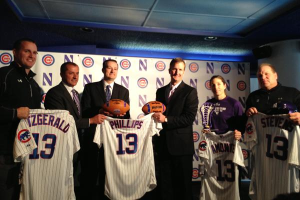 From left: Northwestern football head coach Pat Fitzgerald, NU Athletic Director Jim Phillips, Chicago Cubs owner Tom Ricketts, Cubs President of Business Operations Crane Kenney and NU lacrosse head coach Kelly Amonte Hiller. NU and the Cubs announced a five-year partnership in February that opened up Wrigley Field for select games for NUs 19 varsity teams.