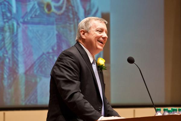 Sen. Dick Durbin (D-Ill.) remembered Northwestern Law Prof. Dawn Clark Netsch on Saturday as
