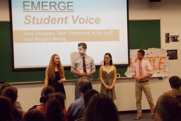 Evanston Township High School students participating in a leadership initiative led by Northwestern students presented their plans to address local issues such as poverty and racial divisions at an event Tuesday night. The program, called Emerge, is in its fourth year.