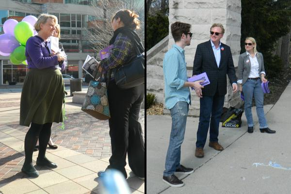 Ald. Judy Fiske (1st) and challenger Edward Tivador (right) greet Evanston residents in their ward on the last full day of the campaign. Voters will decide on the new alderman Tuesday.