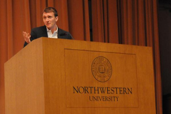 Damon Horowitz, the resident philosopher at Google, speaks on Tuesday evening at Ryan Auditorium. Horowitz was the second of three speakers in the Contemporary Thought Speaker Series.