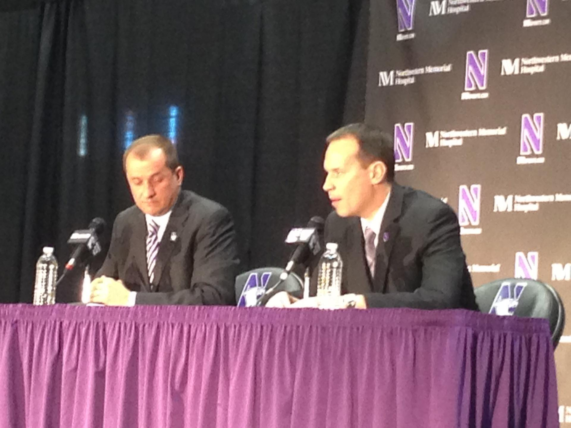 New head basketball coach Chris Collins (right) met with reporters for about 30 minutes this morning. Collins expressed his enthusiasm for the new job, calling it a