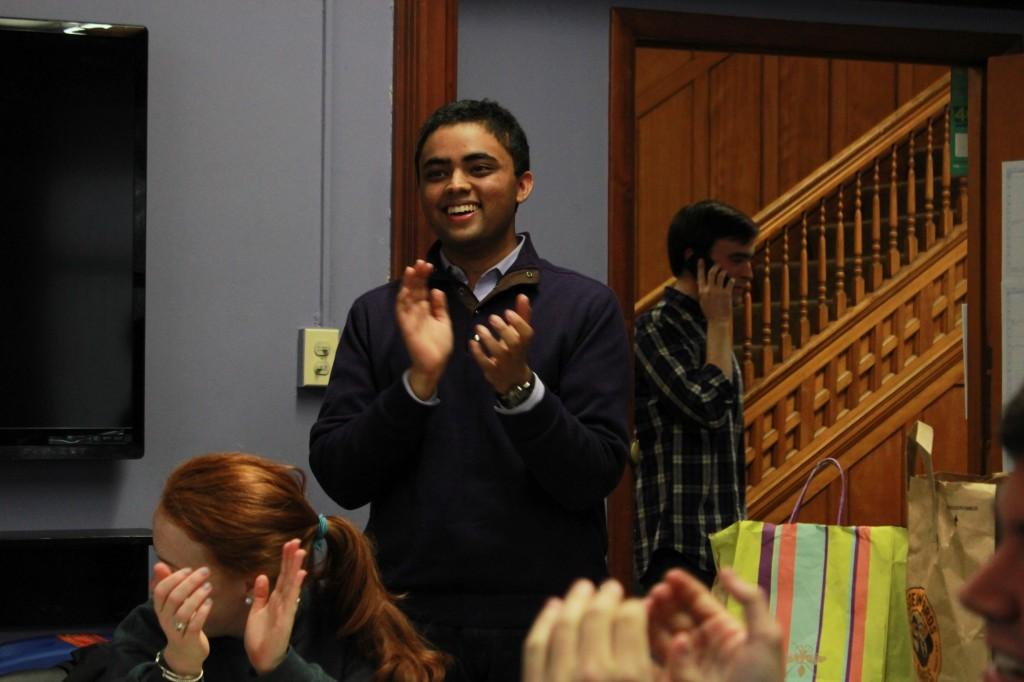 Weinberg junior Ani Ajith celebrates after learning he won the election to become Associated Student Government's next president.