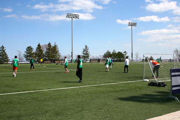 A student team participates in the International Student Association's World Cup this past weekend.