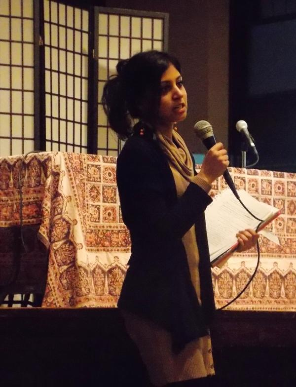 Romana Manzoor, an interfaith coordinator at the American Islamic College in Chicago, spoke about her experience as a Muslim woman at Evanston's Lake Street Church Saturday night.