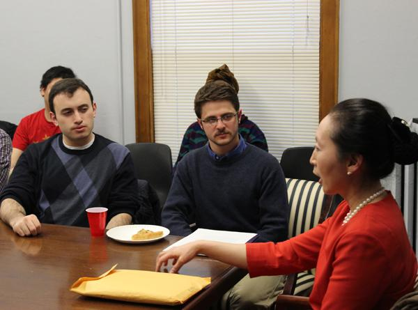 Prof. Ji-Yeon Yuh explained the history and political climate of North and South Korea on Wednesday night. About 25 students attended the discussion.